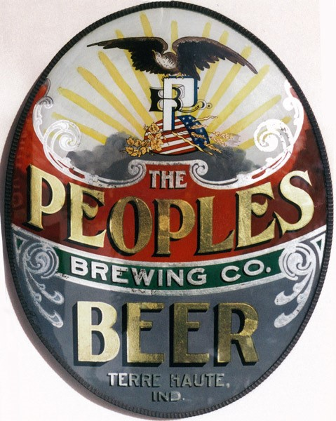 PEOPLES BEER - after reverse painting on glass restoration