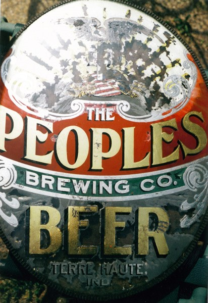 PEOPLES BEER - before reverse painting on glass restoration
