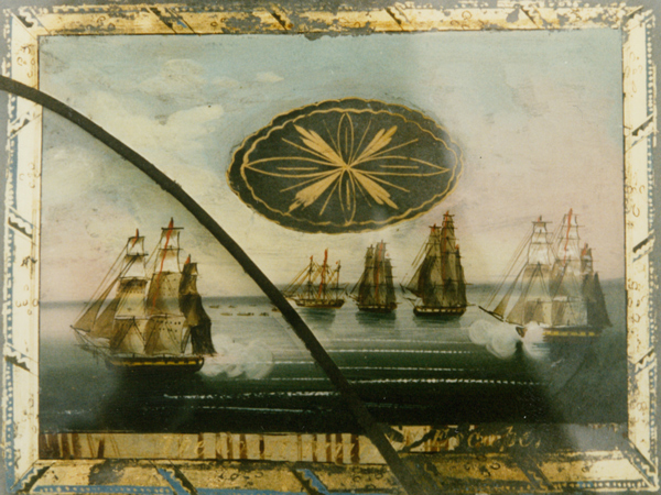 THE CONSTITUTION'S ESCAPE - before reverse painting on glass restoration