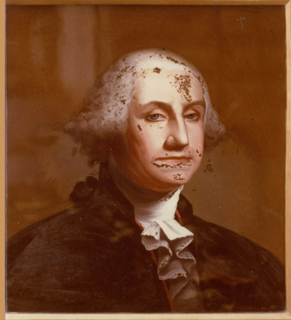 GEORGE WASHINGTON - before reverse painting on glass restoration
